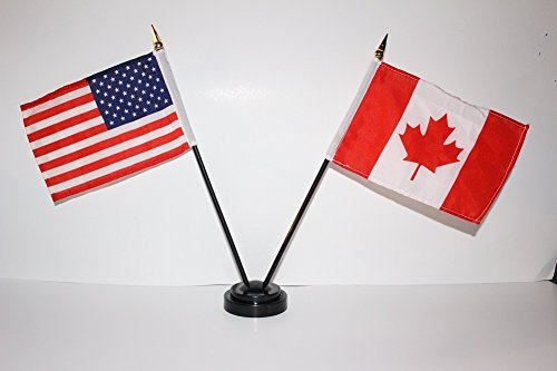 4x6 Inch Miniature Flags - US USA American and Canada Canadian Friendship 4