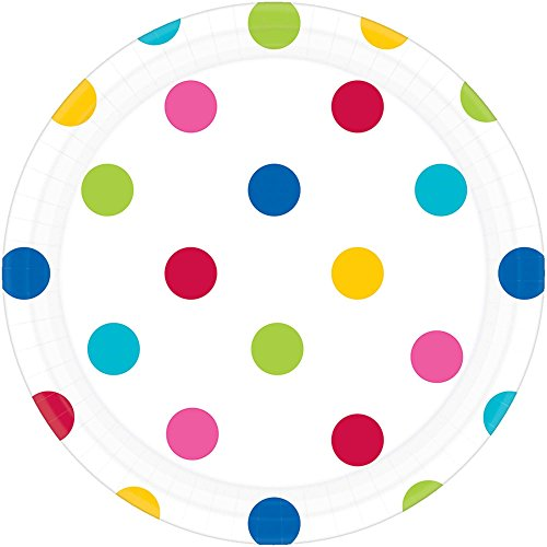 (Amscan 541537.9 Dots Round Plates Party Supplies, 7