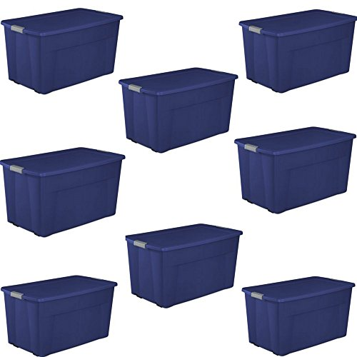 Sterilite 45 Gallon Wheeled Latch Tote- Stadium Blue, Case of 4 (2 PacK) (Sterilite 45 Gallon 170 Liter Wheeled Latch Tote)