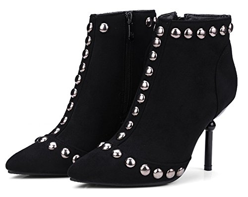 Up Ankle Black Women's Heel High Rivet Easemax Boots Zip Stiletto nq6RwCgfC