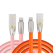 3ft (1m) Durable TPE Diamond Design Zinc Alloy USB to Lightning Cable Sync / Charge Cord (2PACK) for iPhone 7/7 Plus, 6S/6S Plus, iPad (Orange Pink)