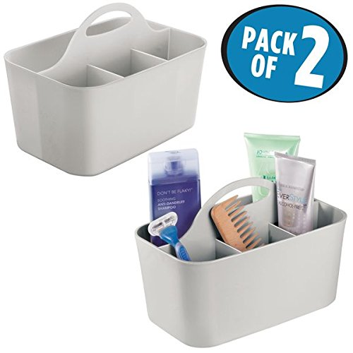 mDesign Bathroom Shower Caddy Tote for Shampoo, Soap, Razors, Combs - Pack of 2, Small, Light Gray by mDesign