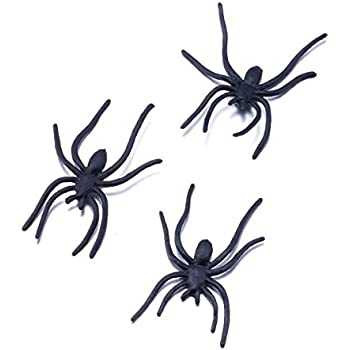 plastic spiders halloween spiders for gag giftsparty favorsprank kit 100 pcs by funlavie - Halloween Spiders