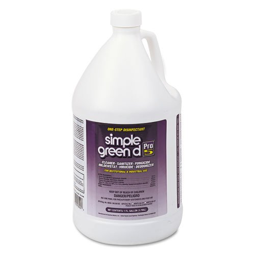 simple green Pro 5 One Step Disinfectant, 1 gal. Bottle - four bottles.