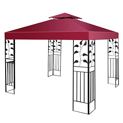 Tangkula 10'x10' Canopy Cover Outdoor Patio Gazebo Replacement Top Cover Wedding Party Event Tent Cover Heavy Duty Durable Waterproof Sun Snow Rain Shelter 1-Tier or 2-Tier 3 Color (2-Tier, Wine)