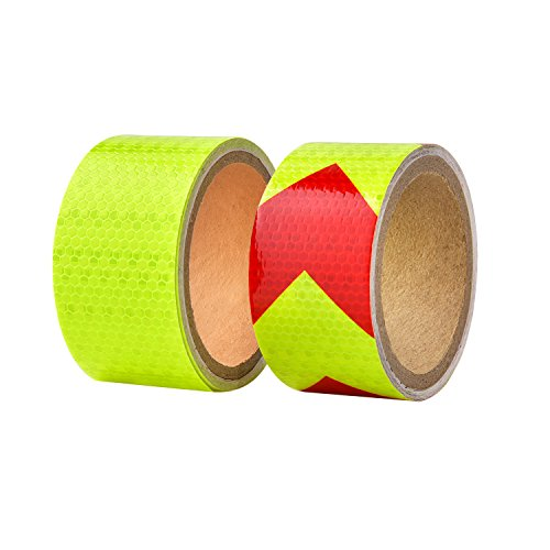 BBTO Reflective Warning Tape Fluorescent Safety Sticker Night Conspicuity Arrow Sticker, Arrow and Yellow, 2 Rolls