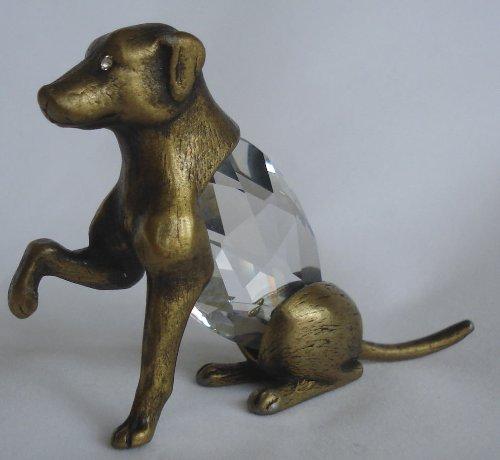 Crystal Dog Figurine Made with Swarovski Crystal - Antique Goldtone