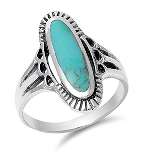 Women's Long Simulated Turquoise Beautiful Ring New .925 Sterling Silver Band Size ()