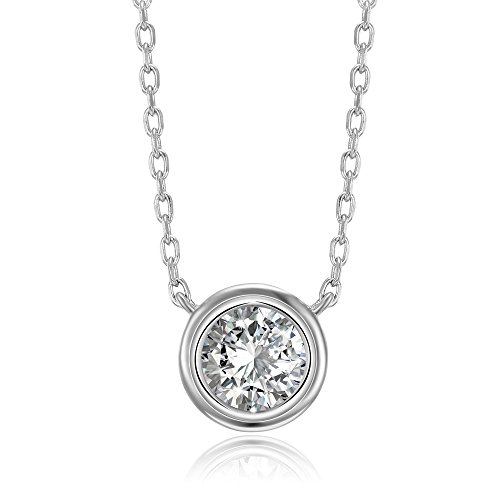 (PAVOI 14K White Gold Plated 1.00 ct (D Color, VVS Clarity) CZ Simulated Diamond Bezel-Set Solitaire Choker Necklace | Sterling Silver Necklace for Women)