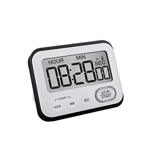 Kitchen Timer Digital with Alarm Clock, Strong Magnetic Back, Loud Alarm and Big Digit Timers, Black