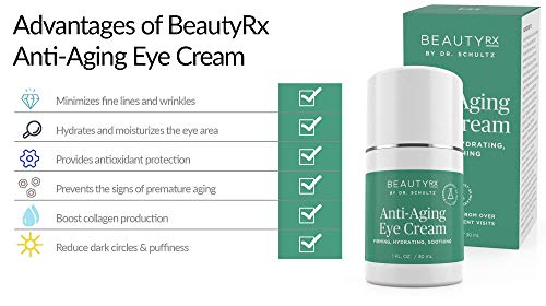 41cf95m1NTL - BeautyRx by Dr. Schultz Eye Cream for Dark Circles, Bags, Wrinkles & Puffiness, Hyaluronic Acid & Green Tea, 1 oz