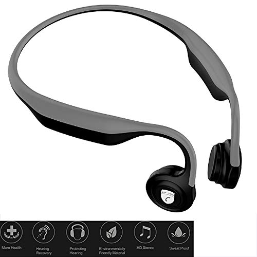 Jonly Bone Conduction Headphones Wireless Bluetooth Waterproof and Sweat-Proof Automatic Rebound Voice Announcement with Microphone for Sports,Gray