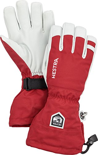 Hestra Ski Gloves: Army Leather Heli Leather Cold Weather Powder Gloves, Red, 10