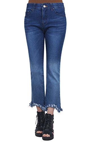 ililily Washed Cotton Denim Waistband Distressed Stretchy Skinny Jeans Pants Blue
