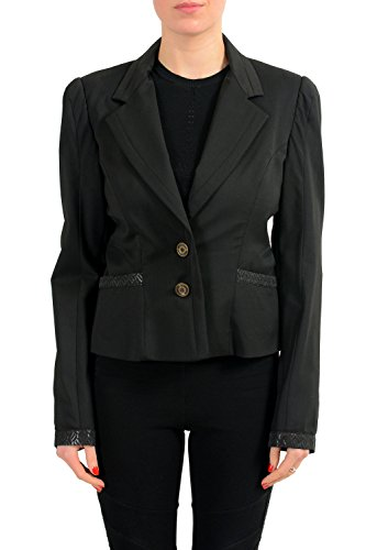 Just Cavalli Wool Black One Button Cropped Women's Blazer US L IT 44