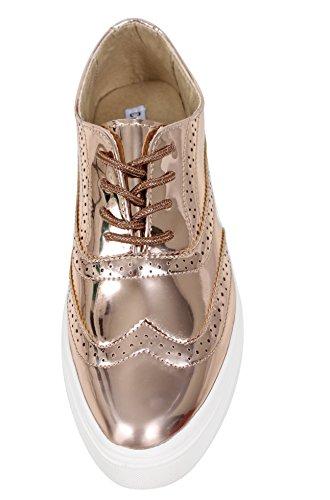 Women's Rubber Shoes Metallic Oxford Soles Faux White CAPE Gold Leather ROBBIN Up Lace aqFwBB