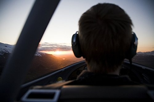 Pilot flying into the sunset, Iceland. 30x40 photo reprint by PickYourImage