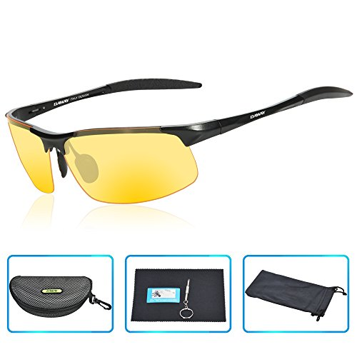 DAWAY SG06BY Mens Polarized Sports Sunglasses for Golf Fishing Cycling Driving - UV 400 TAC Lens with Al-Mg Unbreakable Metal - What Polarized Is Goggles