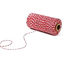 KINGLAKE 328 Feet Cotton Bakers Twine Crafts Gift Twine Christmas Twine Durable Packing String Red & White