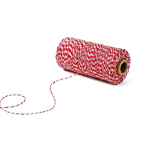 KINGLAKE 328 Feet Cotton Bakers Twine Valentine Gift Twine String Crafts Gift Twine Durable Packing String Red & White