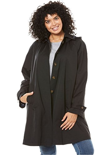 Women's Plus Size Classic Raincoat with Detachable Hood by Woman Within