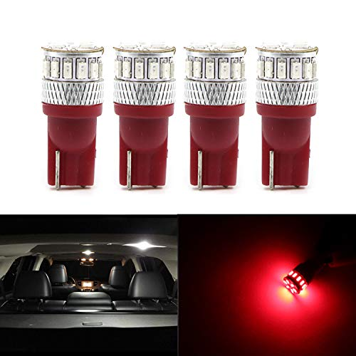 Dantoo 4pcs Super Bright T10 LED Bulbs 194 168 2825 175 W5W 158 161 192 Wedge Dome Lights 3014 Chipset 18 SMD Brilliant Red Light Lamp for for Car Interior Map License Plate Trunk Parking Light