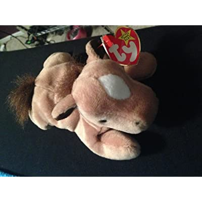 Ty Derby Beanie Baby Horse (Faux Fur Mane) with Rare ERROR Tags: Toys & Games