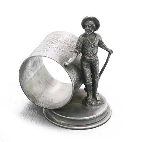 Eureka Napkin Ring, Figural by Silver Co, Silverplate Gold Miner