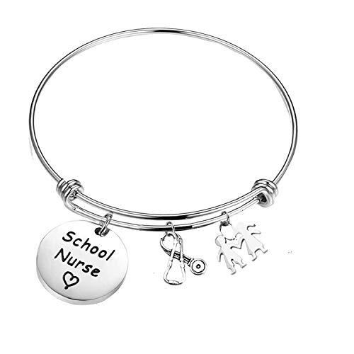 PLITI Nursing School Graduation Gift School Nurse Bracelet Stethoscope Bangle Makes Perfect Nurse Gifts (School Nurse Bangle)