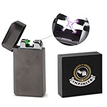 Eternity Buttonless Flameless Lighter, USB Rechargeable Electric Battery Powered, Instantly Light Cigarettes or Candles, Windproof and Weatherproof Design, Includes Gift Box