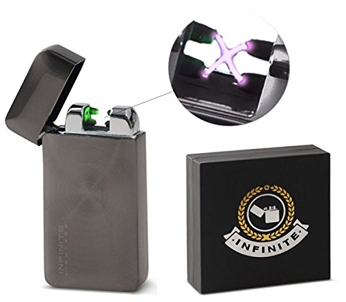 Infinite Lighters Electronic Arc Lighter - Rechargeable Lighter With USB Adapter - Windproof & Flameless Cigarette Lighter With Automatic Sensor - Instant Fire- Luxurious Box Included