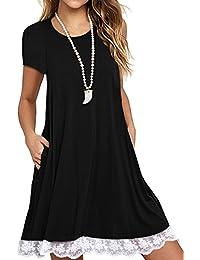 Women's Short Sleeve Lace Tunic Dress Summer T-Shirt Dress With Pockets