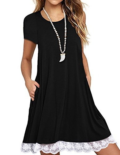 Price comparison product image Angielucky Women's Short Sleeve Lace Tunic Dress Summer T-Shirt Dress With Pockets (Large,  Black)