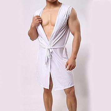 IAMZHL Albornoz de Hombre Pijama con Capucha de Seda de Hielo Sexy sección Delgada Albornoz de Kimono Bata de Hombre Bata de baño sólida de Gran tamaño-white-2-S