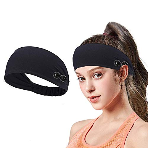 Yoga Sports Headband with Button Anti-Strap, Wide Hair Bandana to Protect Ears for Nurses Doctors and Everyone, Vintage Elastic Hair Accessories (Black, 2 Buttons)