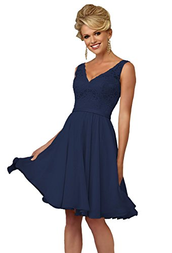 YORFORMALS Women's V-Neck Knee Length Bridesmaid Dress Short Formal Evening Party Gown Lace Bodice Size 10 Navy Blue Lined V-neck Skirt