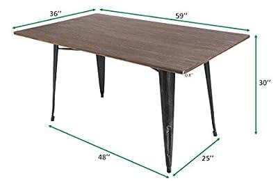 Merax PP036324DAA PP036324 Dining Table, Distressed Black