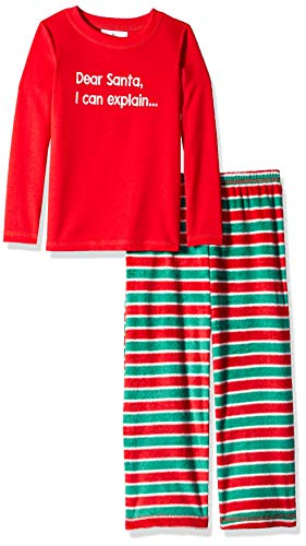 (Karen Neuburger Girls' Little Family Matching Christmas Holiday Pajama Sets, Candy Cane Stripe Red and Green Combo Pj - Dear Santa, Kid)
