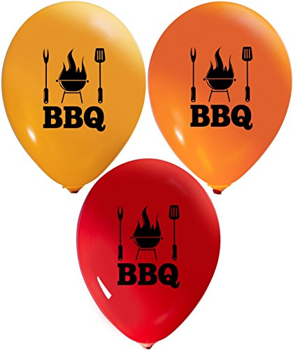 BBQ Balloons | Colorful Latex Balloons (20-Count) Happy Birthday Party Or Event Use | Fill with Air Or Helium | Kid-Friendly by Party Zone