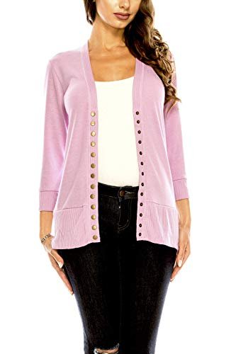 (Women's V Neck Cardigan Snap Button 3/4 Sleeve Sweater with Ribbed Detail Collection Plus Size [S-3X] Mauve Large)