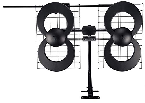 Antennas Direct Clearstream 4V TV Antenna, 70+ Mile Range, UHF/Vhf, Multi-Directional, Indoor, Attic, Outdoor, Mast W/Pivoting Base/Hardware/Adjustable Clamp/Sealing Pads, 4K Ready, Black - C4-V-CJM