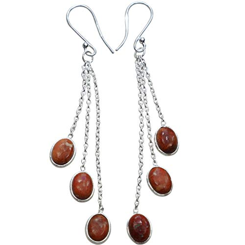 Nature Red Ocean Jasper Handmade Earrings, 925 Sterling Silver Earrings Women's Jewelry Mother's Gift 3