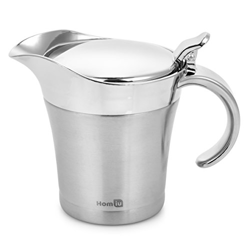 Homiu Gravy Boat Stainless Steel Double Insulated Hinged 17 Ounces / 500 Millilitres Capacity ()