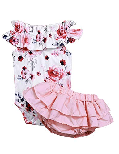 Newborn Baby Girl Jumpsuit Bodysuit Pink Sleeveless Ruffles Off-Shoulder Romper +Floral Shorts Summer Outfit Set (6-12 Months)