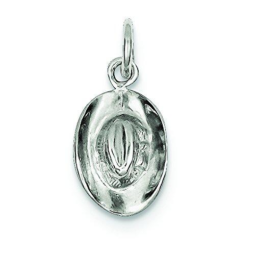 .925 Sterling Silver Cowboy Hat Charm Pendant
