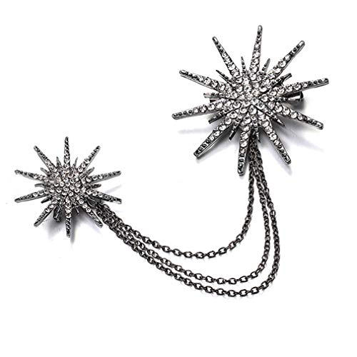 MOONQING Rhinestone Star Brooch Full Diamond Sun Brooch Fringe Brooch Retro Style Brooch