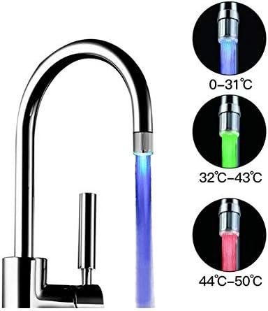 KPSRB 蛇口LEDルミナス蛇口タップノズルカラーライト温度節水キッチンバスルームアクセサリーを点滅 蛇口コネクタ (Color : Temperature sensor)