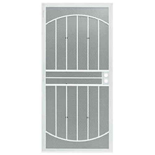 Grisham 36 in. x 80 in. 555 Series Tuscany White Steel Prehung Security Door