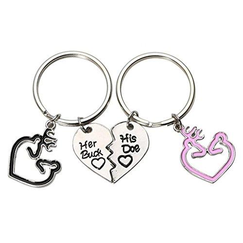 Potato001 2 Pcs Romantic Her Buck His Doe Key Ring Deer Heart Couple Keychain Bag Decor (Black (Buck Keychain)