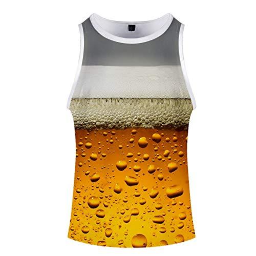 Men's Summer Beer Festival 3D Printed O-Neck Short Sleeveless Vest Top Gray